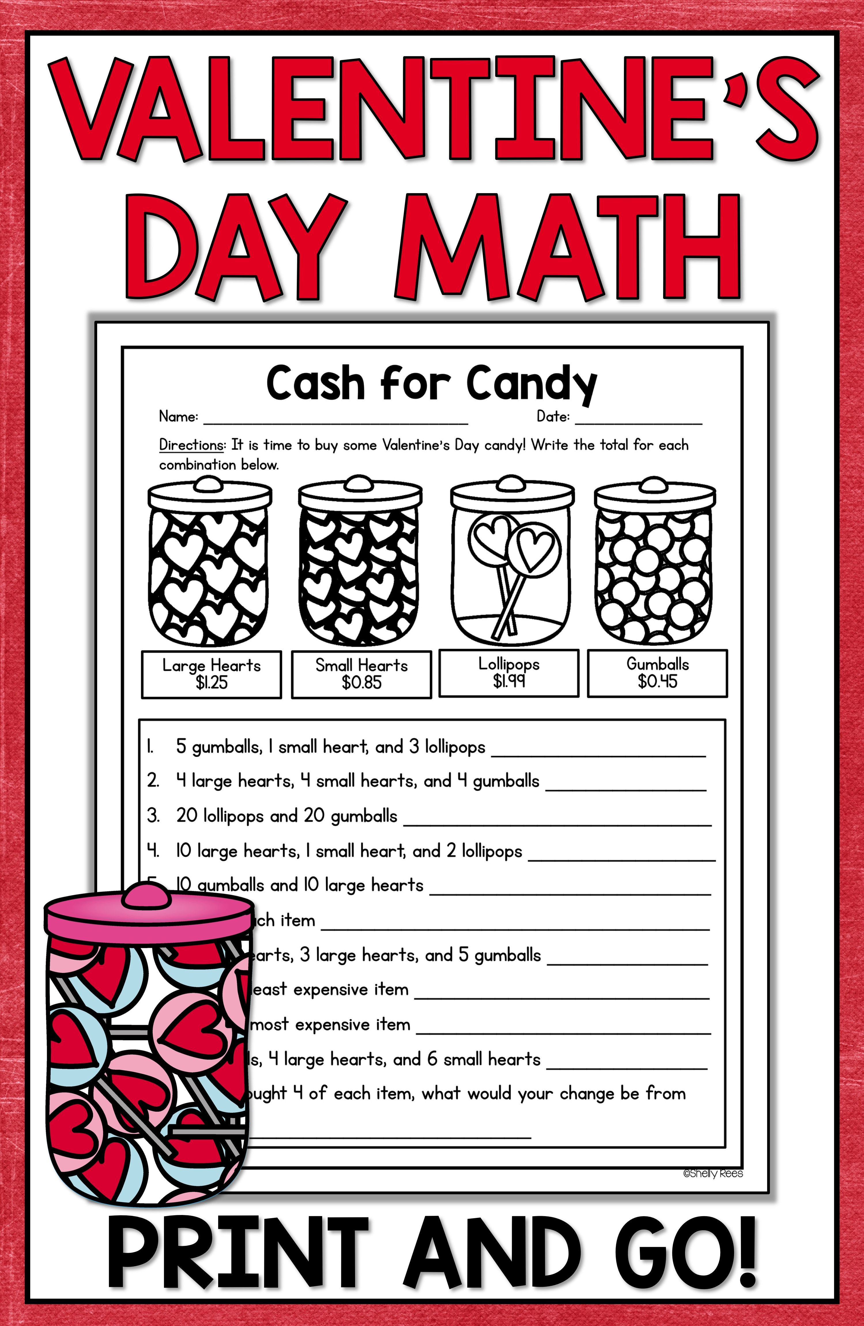 Valentines Day Math activities and centers are fun for kids and easy for  teachers! NO PREP V…   Math valentines [ 4599 x 2998 Pixel ]