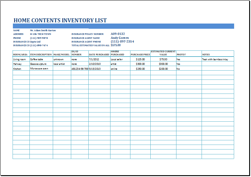 Inventory Lists At WordDocumentsCom  Microsoft Templates