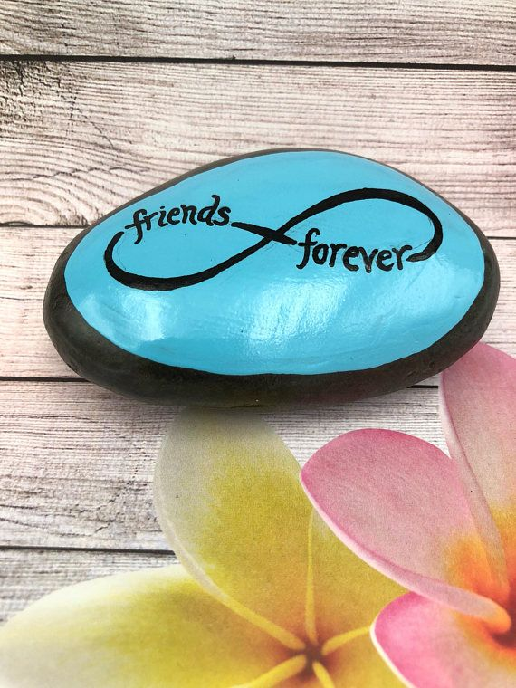 Friends Forever Painted Rock, Friendship Painted Stone, Best Friends Gift, Infinity Symbol Painting, Hand Painted Rock #rockpainting