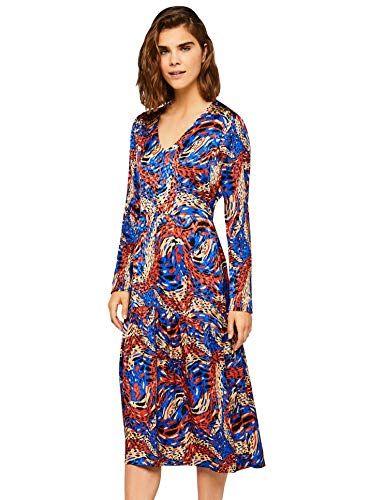 caf7f93b0 FIND Vestido Midi Estampado Abstracto Para Mujer Azul 40 (Talla del  Fabricante  Medium)