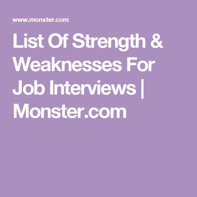 interview strengths and weaknesses