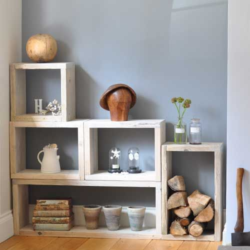 Reclaimed Distressed Wood Box Shelving