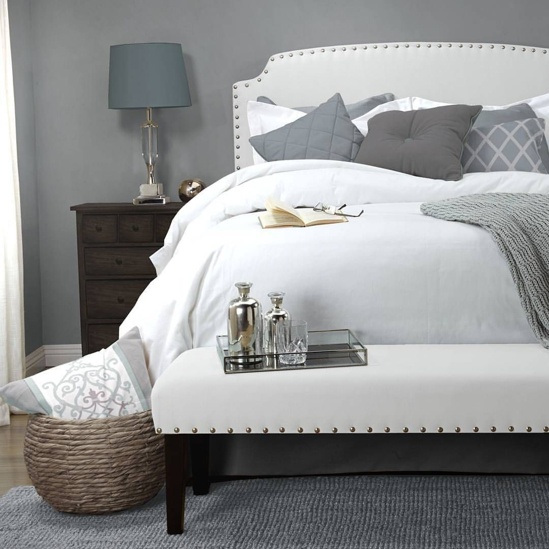 Inspirations White Grosvenor Headboard And Bench Set By Seahawk Designs Inc Inspiration Bedroom Furniture Seahawkdesigns