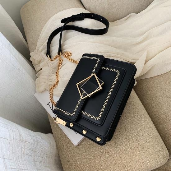 Chain Pu Leather Crossbody Bags For Women 2019 Small Shoulder Messenger Bag Special Lock Design Female Travel Handbags – Khaki 20.5cmx15.5cm x7.5cm