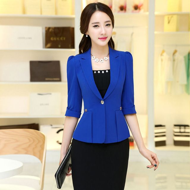 de las mujeres de trabajo de oficina chaqueta primavera otoo media manga del color slido