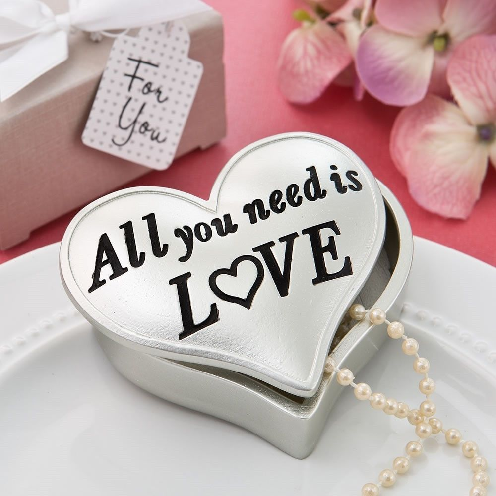 Wedding Favors 33156: 12 Matte Silver All You Need Is Love Heart ...