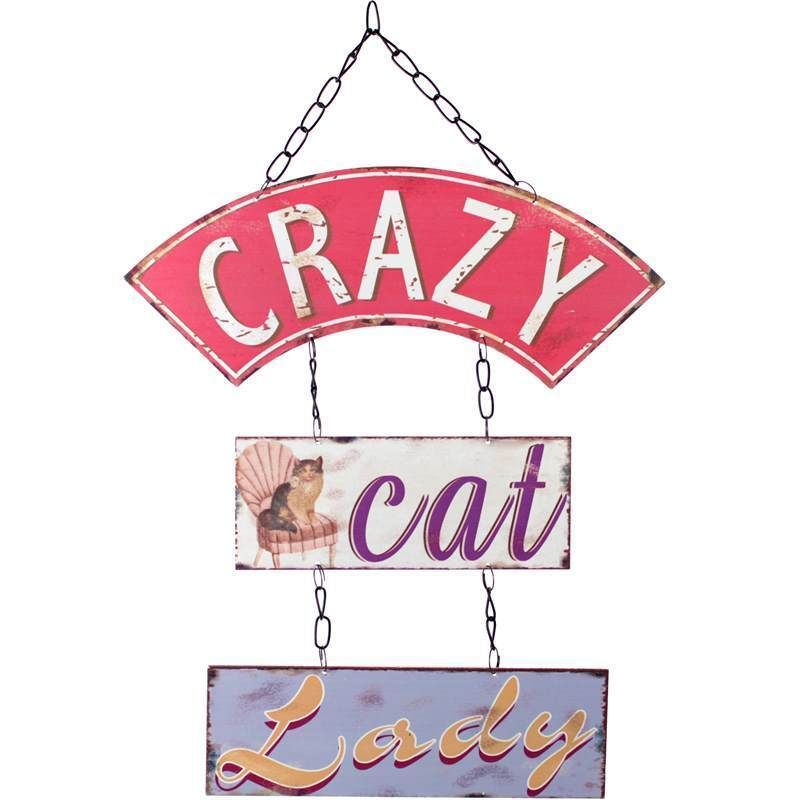 CRAZY CAT LADY WALL HANGING TRIPLE METAL PLAQUE SIGN PLAQUE FUN GIFT CAT  OWNERS In Home