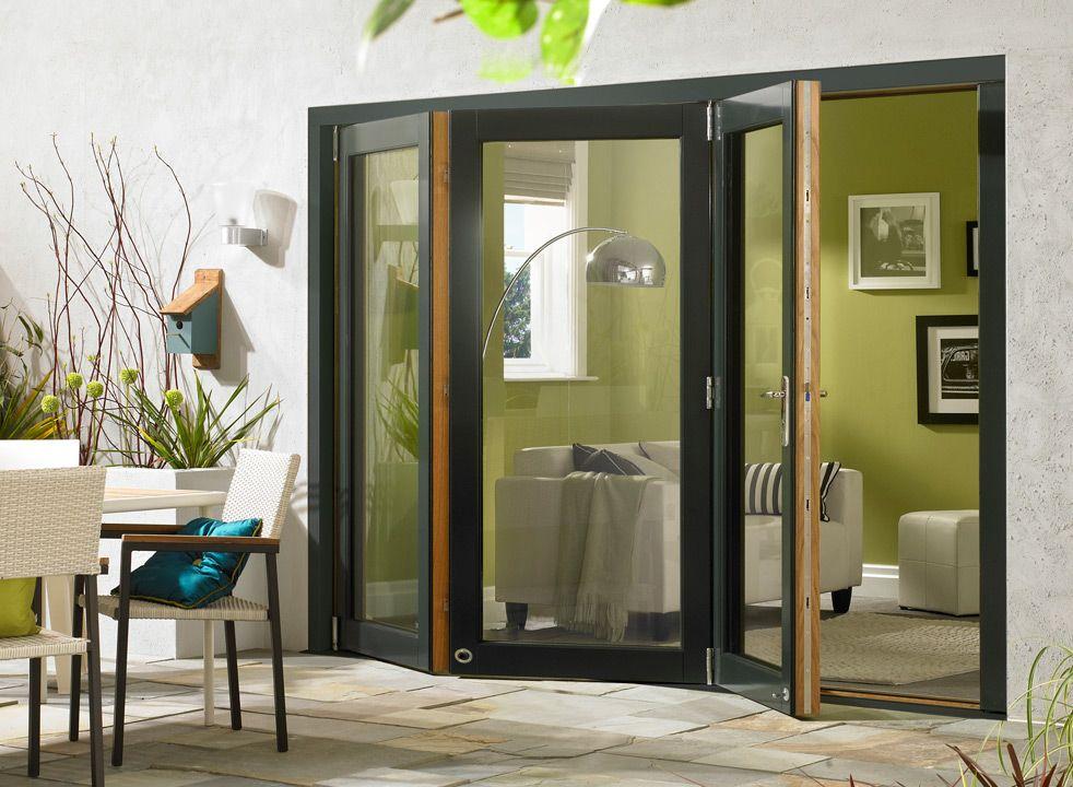 Ultra 3m Approx 10ft Grey Aluminium Oak Triple Glazed External Bifold Doors French Doors Patio Room Divider Doors