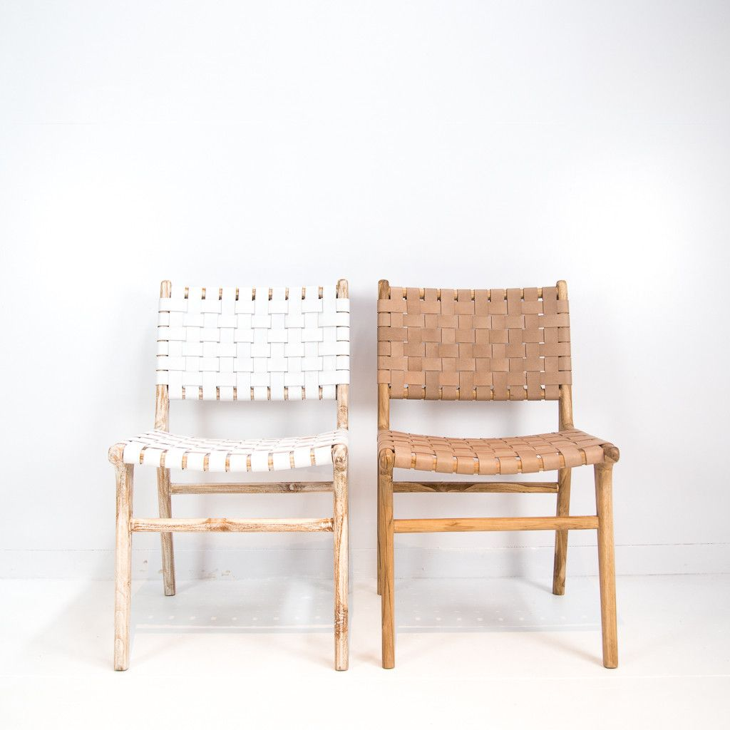 Leather weave dining chair white