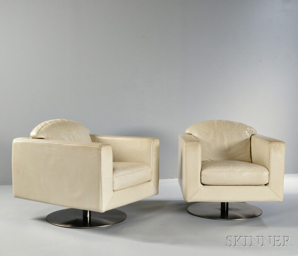 Two Roche Bobois Swivel Armchairs Leather, Steel Italy, 2003 Ivory Leather  On Circular Steel Pedestal Base, Cloth Label, H