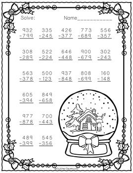 Free Three Digit Subtraction With Regrouping Christmas