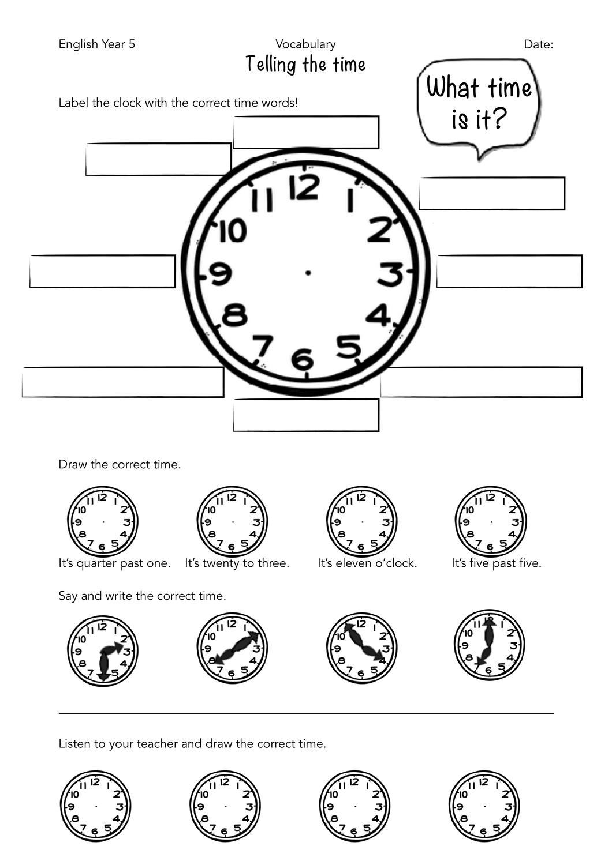 Telling the Time Bundle – Unterrichtsmaterial im Fach Englisch ...