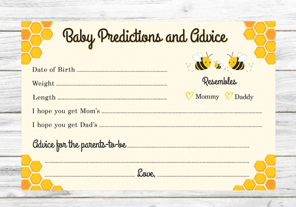 Predictions and Advice Baby Shower Activity Cards Mommy-to-Bee (24-Count)