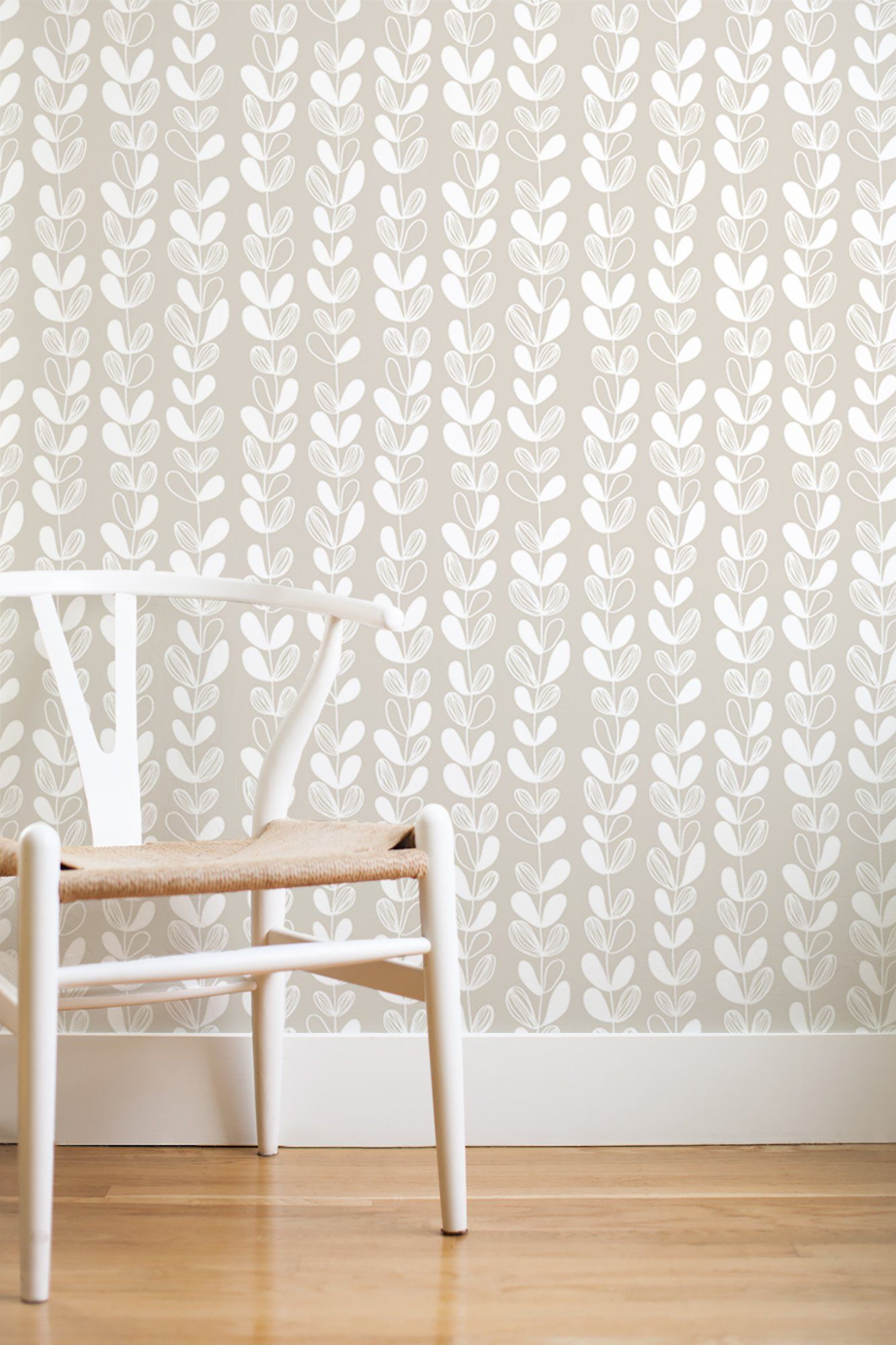 Frosted leaves removable wallpaper grey Removable