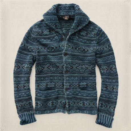 Men's Blue Fair Isle Shawl Cardigan | Shawl cardigan and Fair isles