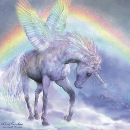 Unicorn With Wings And Rainbow beautiful unico...