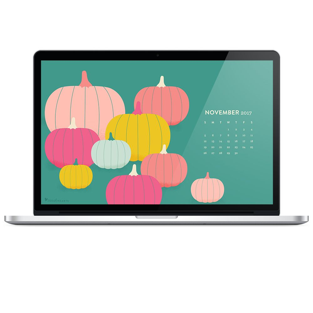 Download this free colorful pumpkin fall wallpaper with a November 2017 calendar. by Sarah Hearts