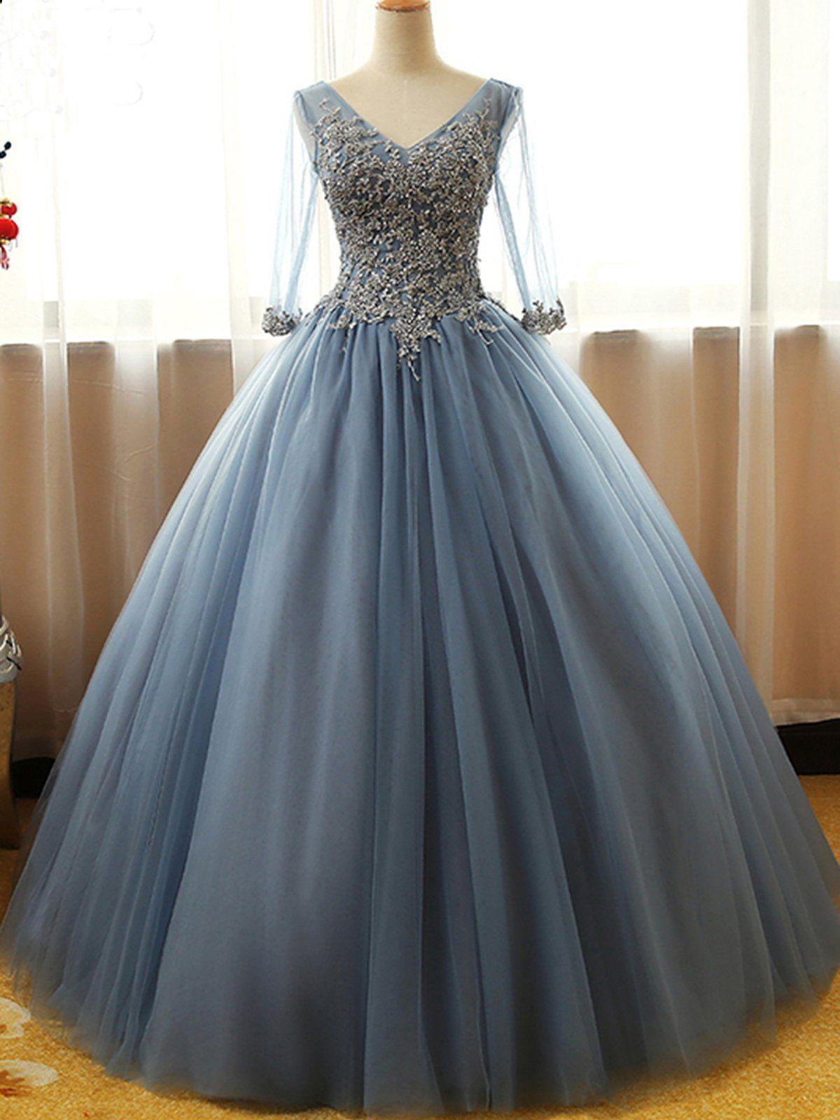 Gorgeous Long Blue Half Sleeve Prom Dresses Floor Length Long Dusty B Bemybridesm Long Sleeve Evening Dresses Lace Evening Dresses Prom Dresses With Sleeves [ 1600 x 1200 Pixel ]
