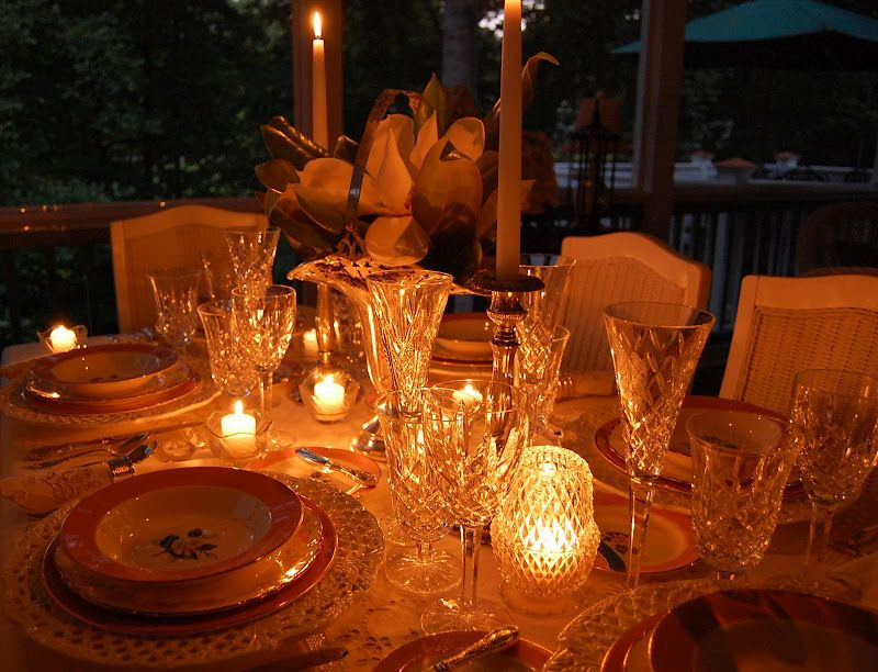 Bridal Shower or Mother's Day Setting: Happy 100th Tablescape Thursday -same except it is evening!