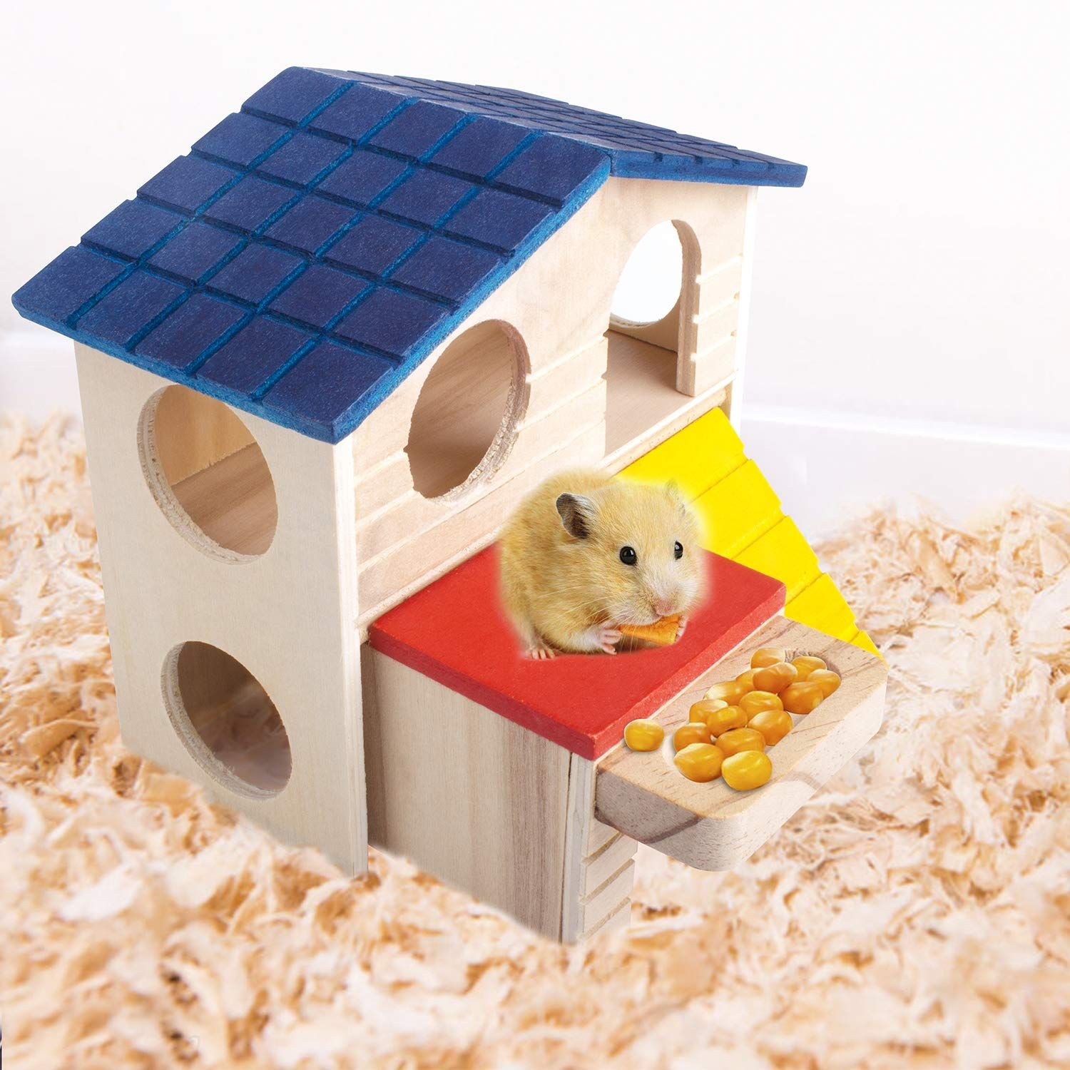 Hamster Deluxe Wooden House With Slide Hideout Hut Habitat For Small Animals Dwarf Mice Gerbil Sugar Gliders In 2020 Small Pets Sugar Glider Toys Sugar Glider Habitat