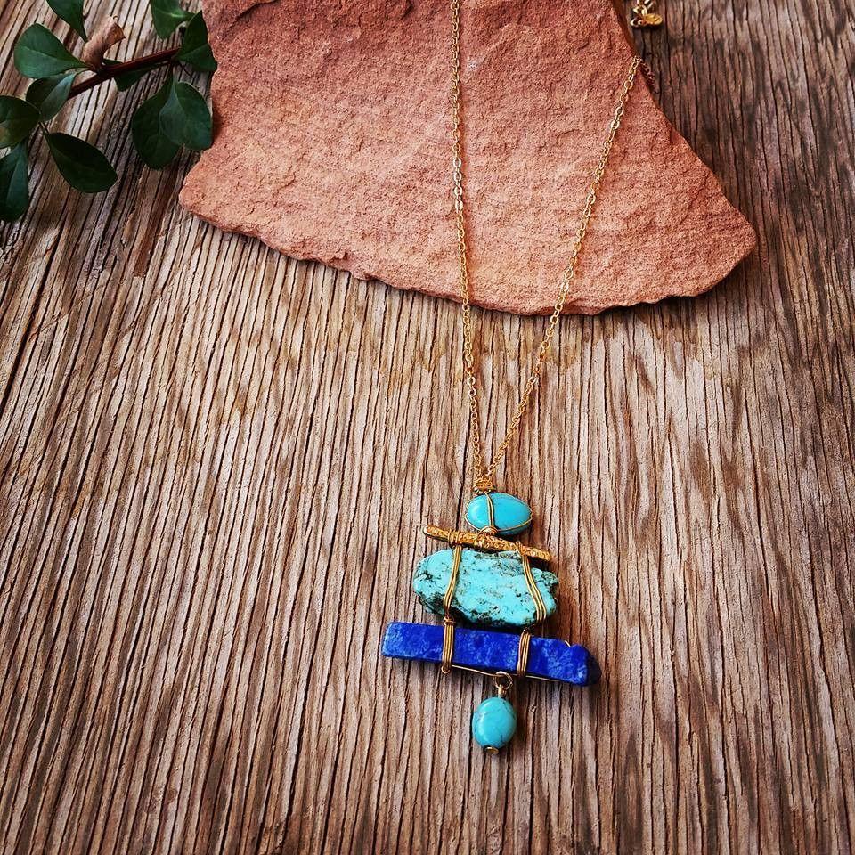 Multi Stone Blue Necklace