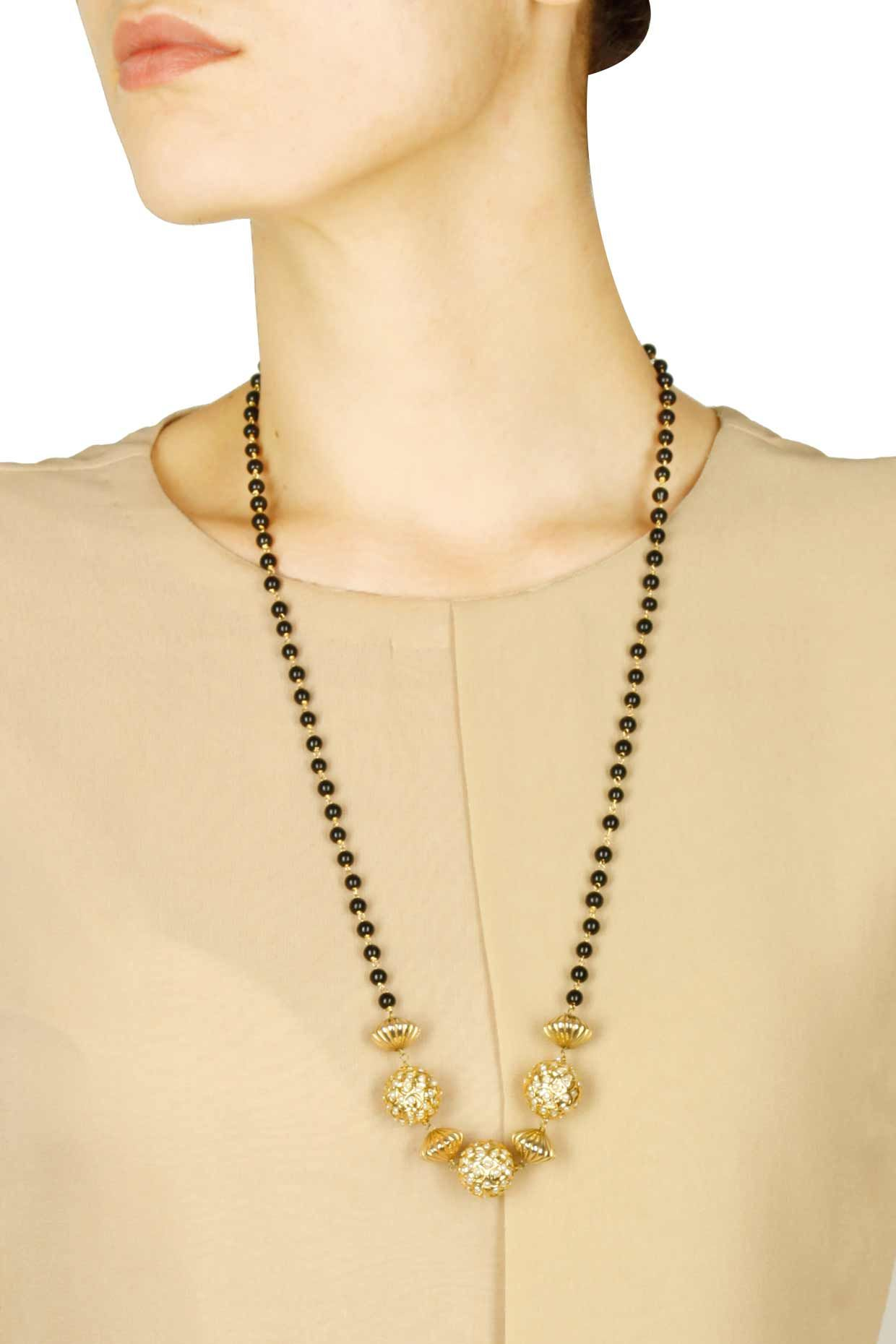 22 carat gold floral designer pendant with multiple beads chain and - Art Karat Presents Gold Finish Pearl Carved Ball Black Beads String Necklace Available Only At Pernia S Pop Up Shop