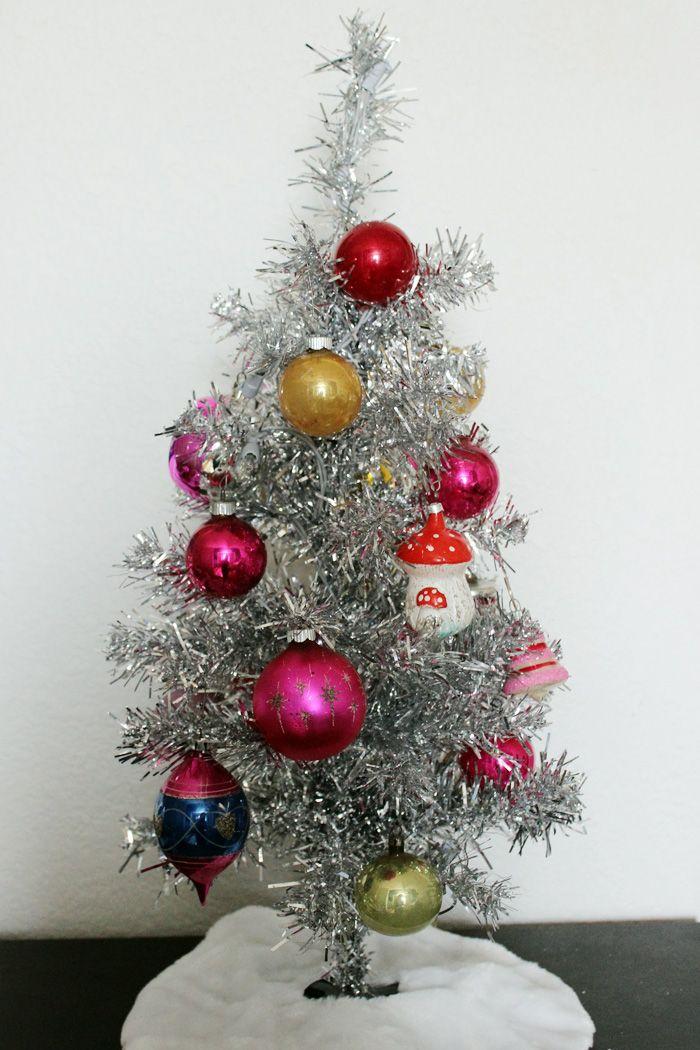 mini vintage tinsel christmas tree - Mini Christmas Tree Topper