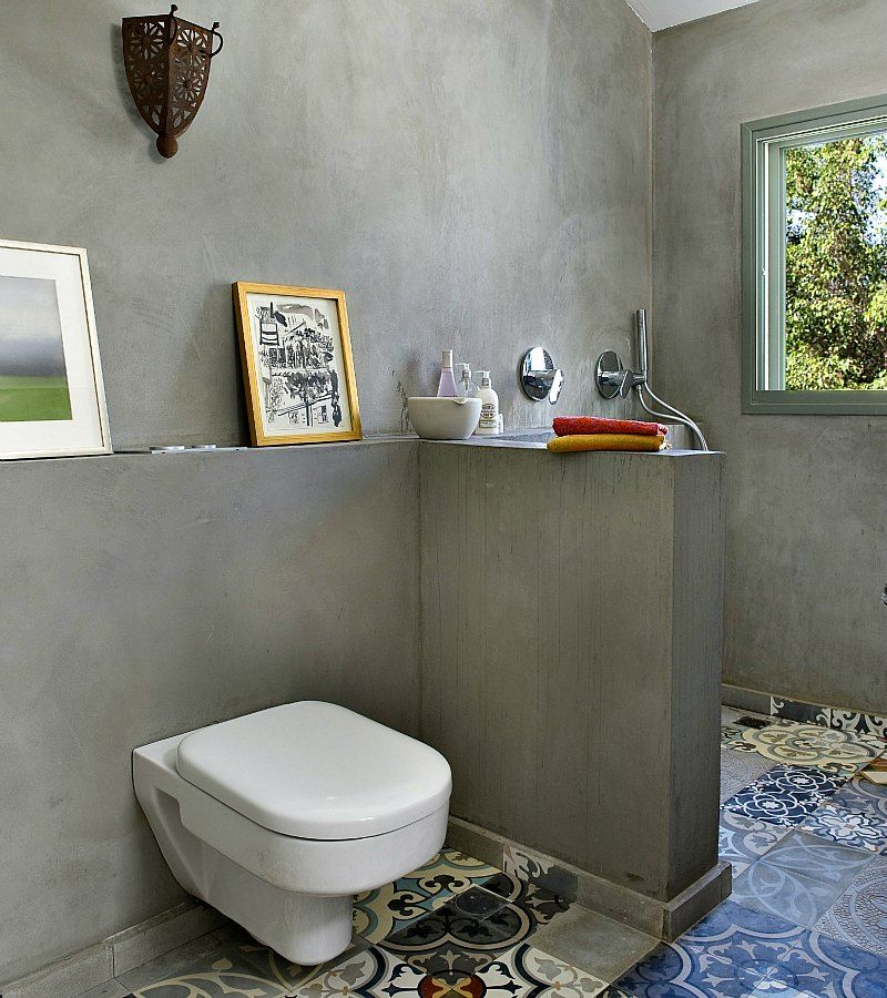 Tile-less walls. cement tiles in shower. no tiles in shower walls ...