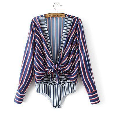 Women spring summer striped bow tie long sleeve bodysuit jumpsuit romper