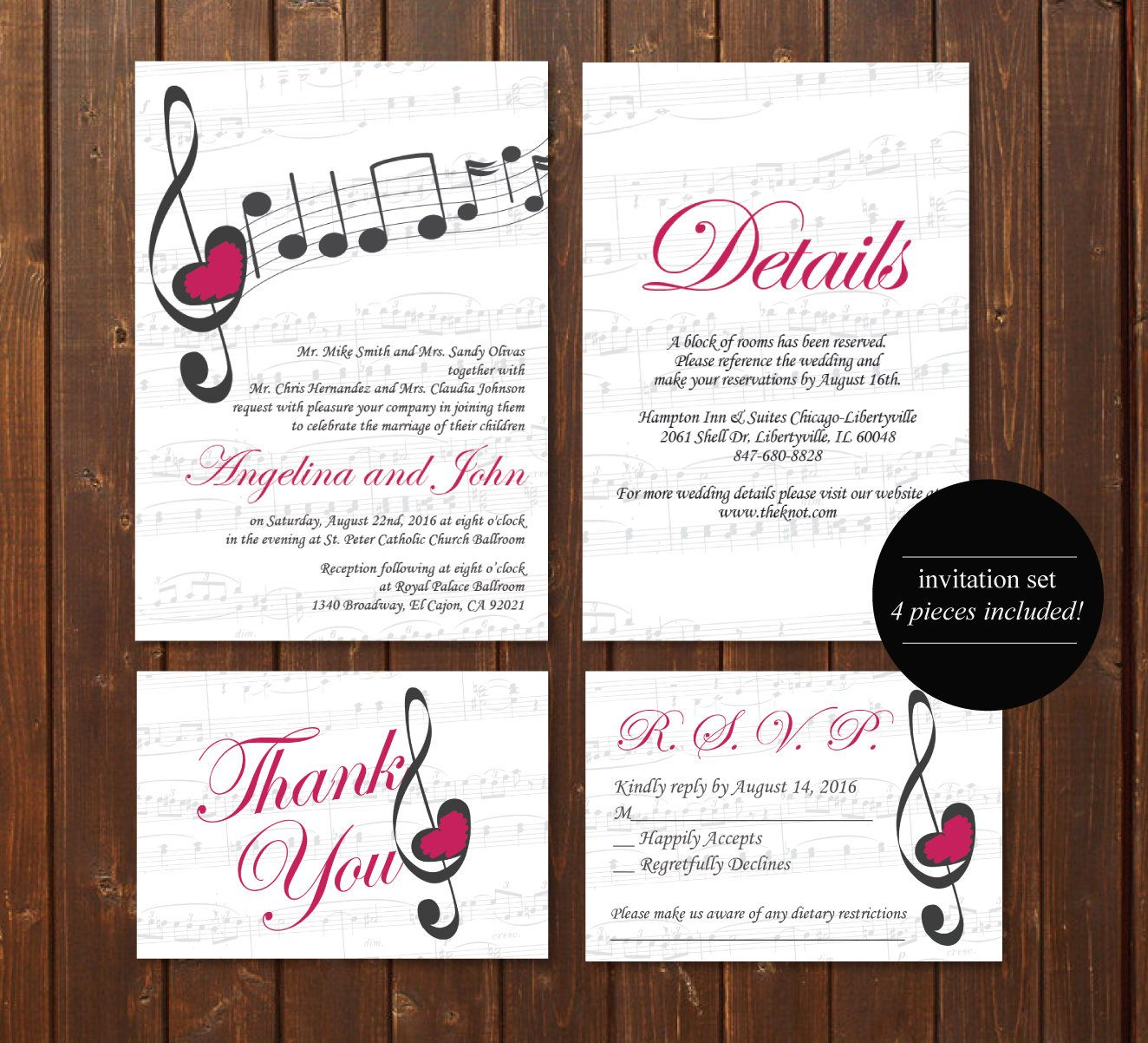 Music Wedding Invitation Printable Template/Vintage/E-card Wedding ...