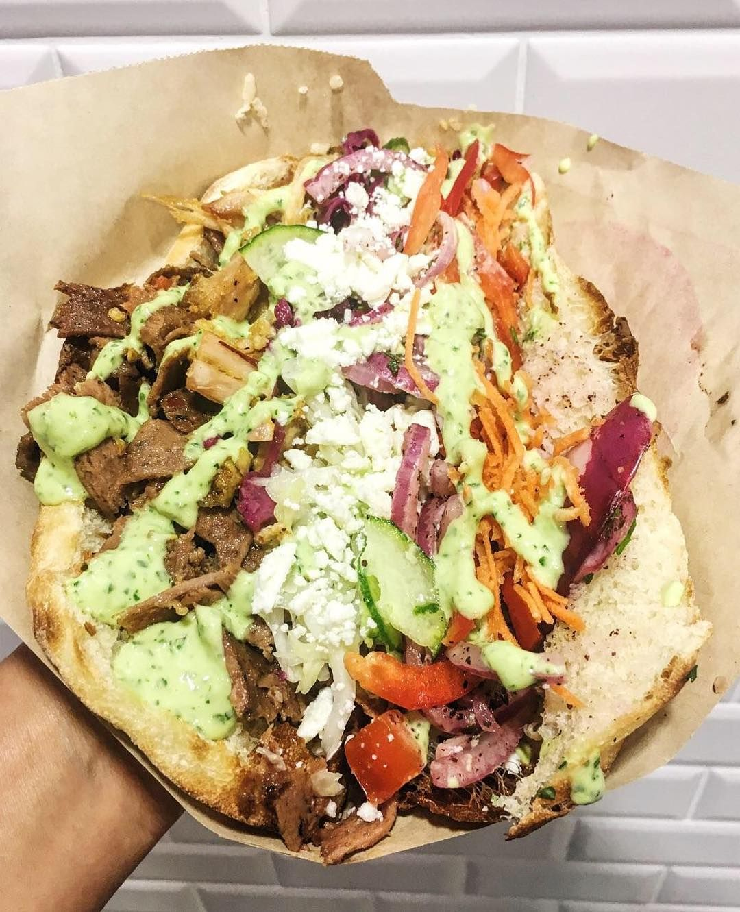 Beef And Chicken Doner Kabob With All The Fixin S And Extra Tzatziki Sauce Kebab Recipes Chicken Doner Kebab Recipe Doner Kebabs