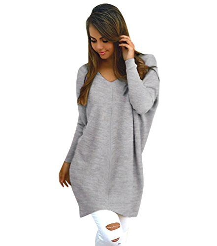 e2606518728 Pull Long Maille Femme Pull Tunique Oversize Manches Longues Col V Ample  Chaud Hiver Epais Pull