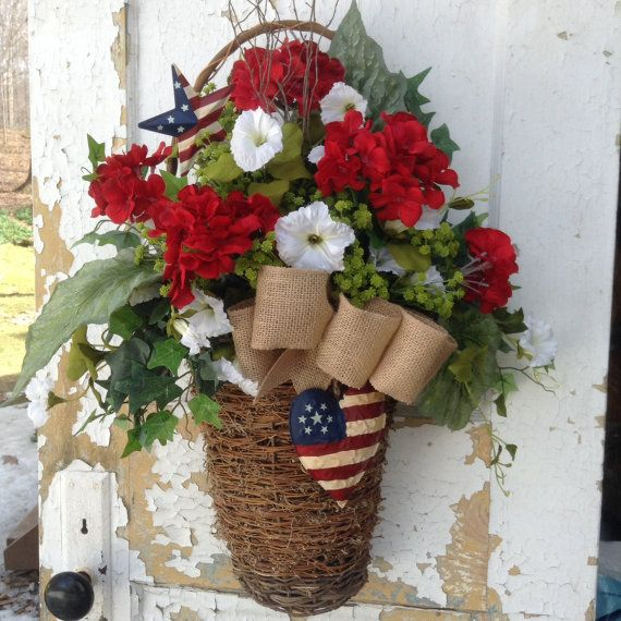 Patriotic Wreath Patriotic Basket Americana by FlowerPowerOhio