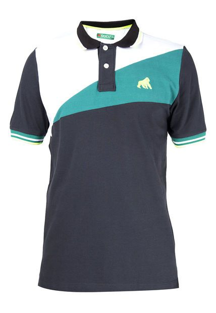 315ea7b083124 Camiseta polo Goco color negro blanco  verde