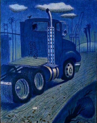 """gafternoon. .more work on """"port of lb."""" acrylic, pen, color pencil on wood, 11 x 81/2 in, in progress"""