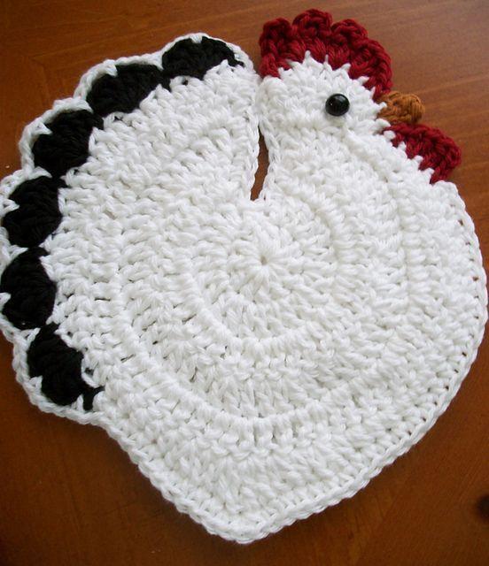 stricken & häkeln — Speckled Hen Potholder - Free Crochet Pattern by ...
