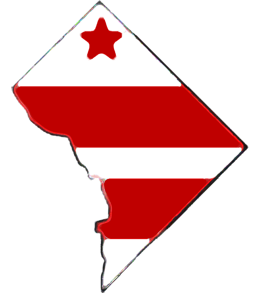 Washington Dc District Of Columbia Map With Flag Sticker By Havocgirl White Background 3 X3 Columbia Map Flag Art Art Prints