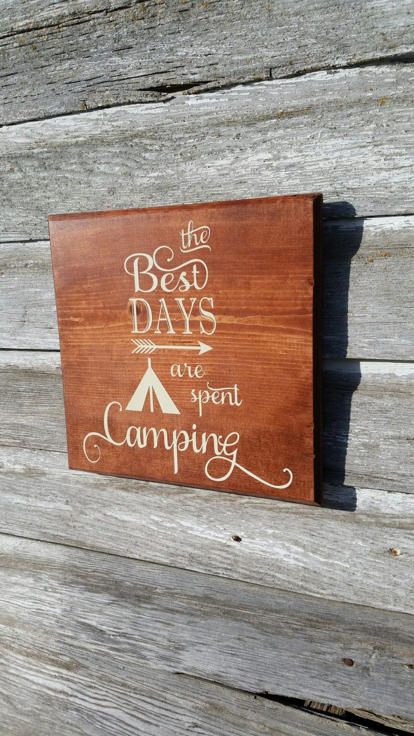 Cabin Wall Decor the best days are spent camping- hand made wood wall art/ cabin