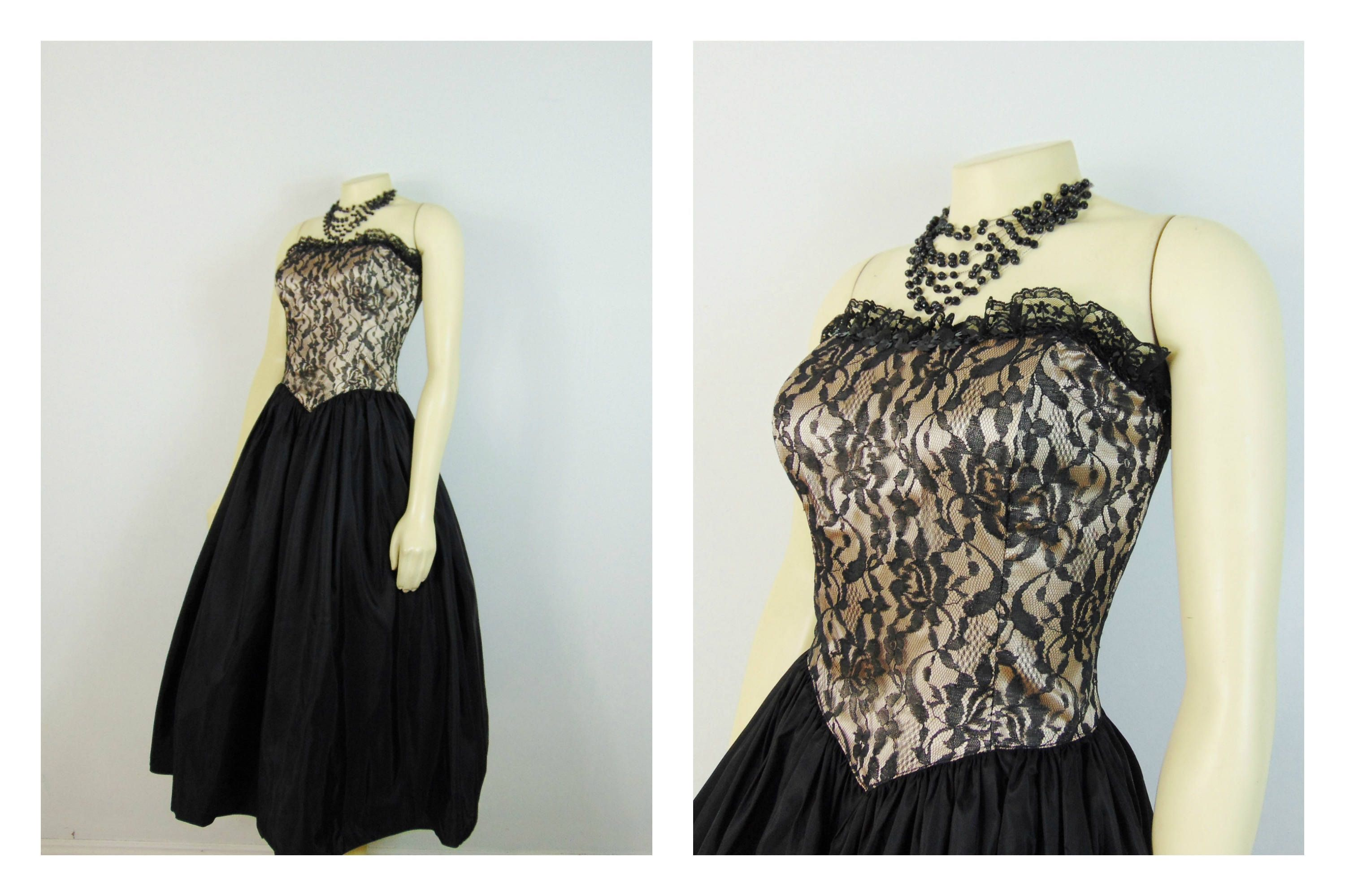 Vintage 80s prom dress jessica mcclintock for gunne sax nude vintage 80s prom dress jessica mcclintock for gunne sax nude illusion black lace beige champagne full ombrellifo Images