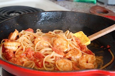 Linguine with Shrimp and Tomato Cream Sauce - Eat, Live, Run