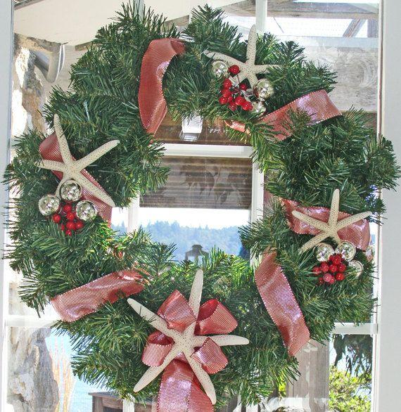 beach christmas wreath starfish red silver red berries nautical wreath coastal wreath - Beach Christmas Wreath