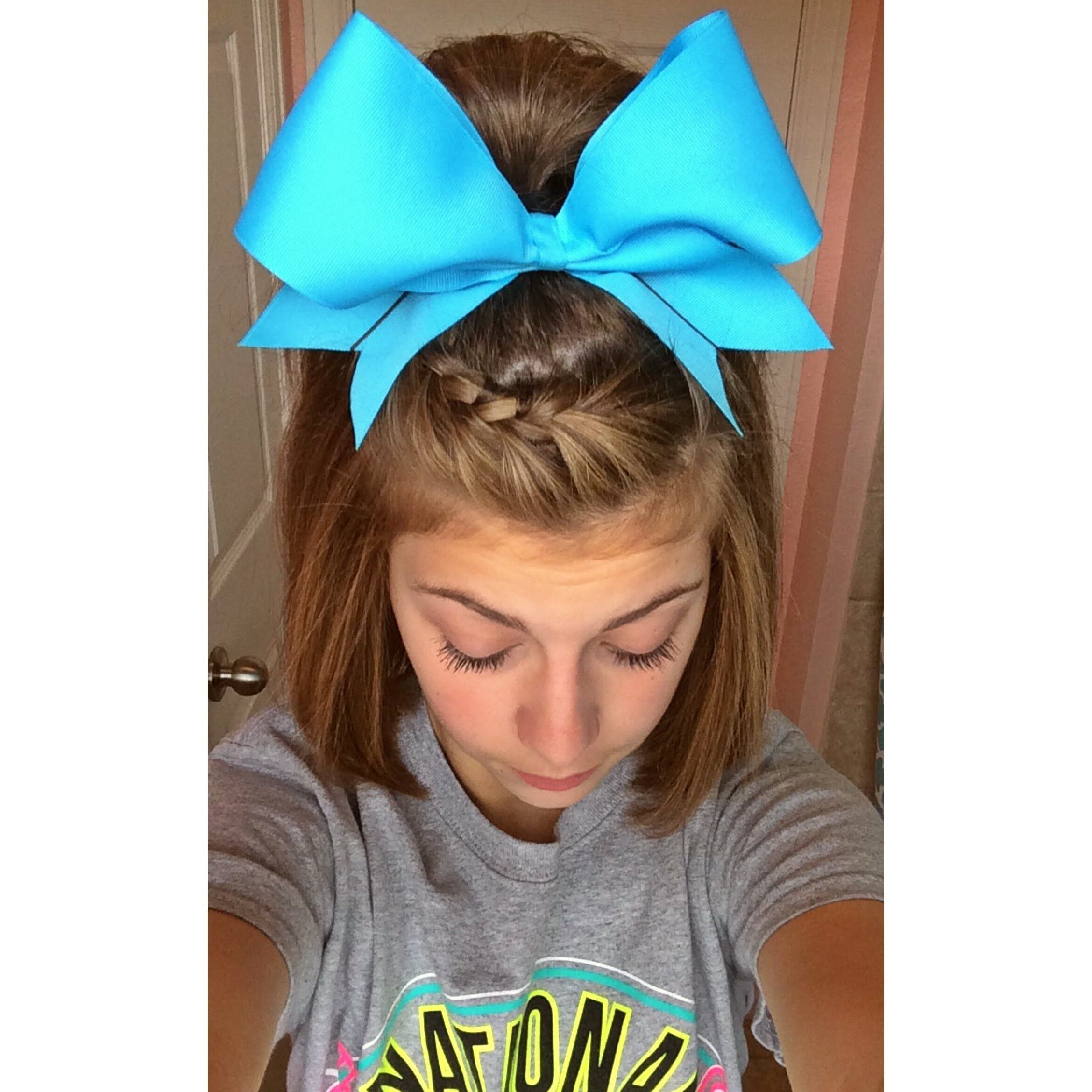 french braid bangs with half up pony for short hair. | cheer