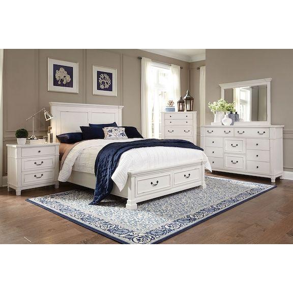Taryn 4-Piece Queen Storage Bedroom Set - Antique White in 2018