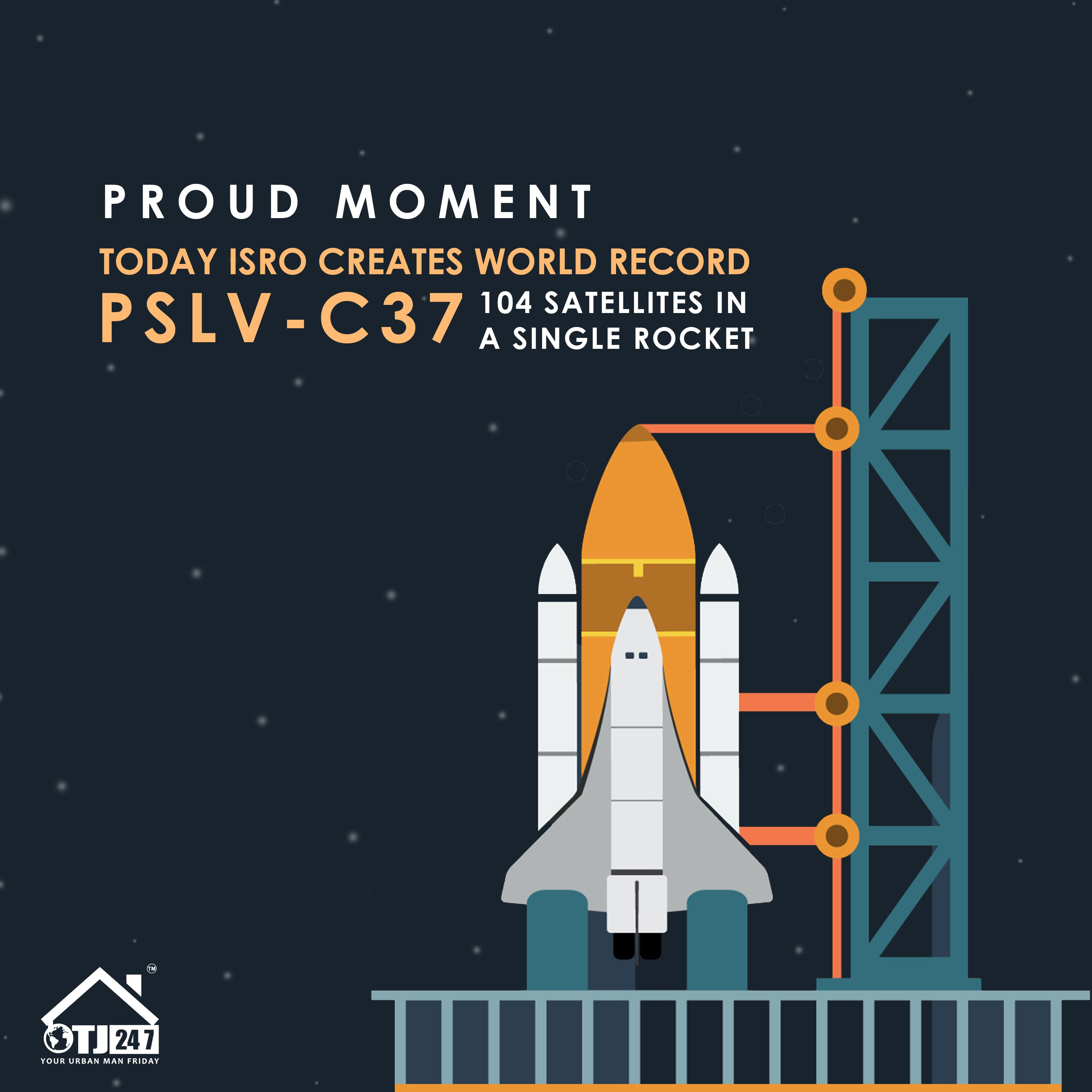 Isro Creates World Record Launches 104 Satellites In One Go Aboard The Pslv C37 Pslvc37 Isro World Records Satellites In This Moment