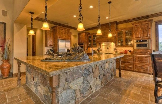 Stone Kitchen Island Rustic With Handle Faucets Stone Kitchen