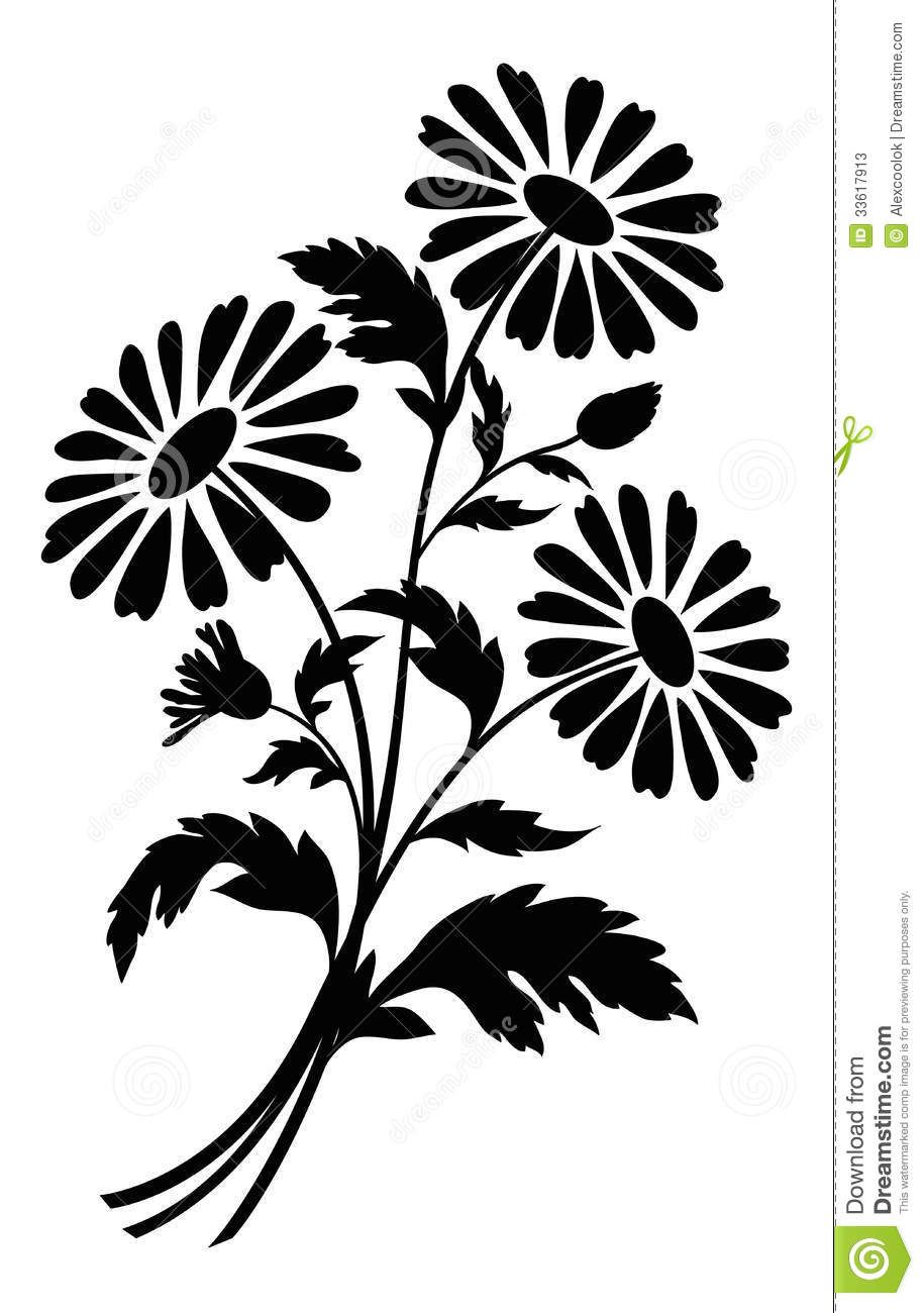Flowers For > Black And White Flower Bouquet Clipart
