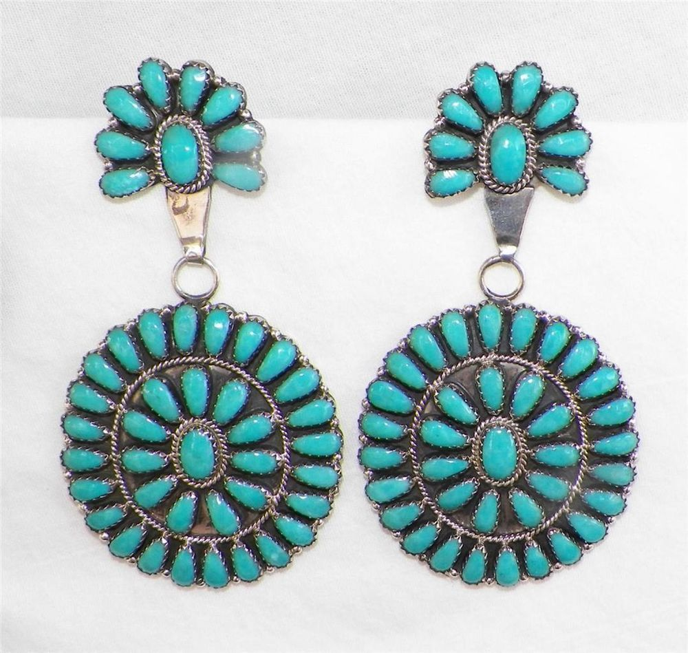 IMMENSE~NAVAJO~LARRY MOSES BEGAY~STERLING SILVER~TURQUOISE~CONCHO STYLE EARRINGS