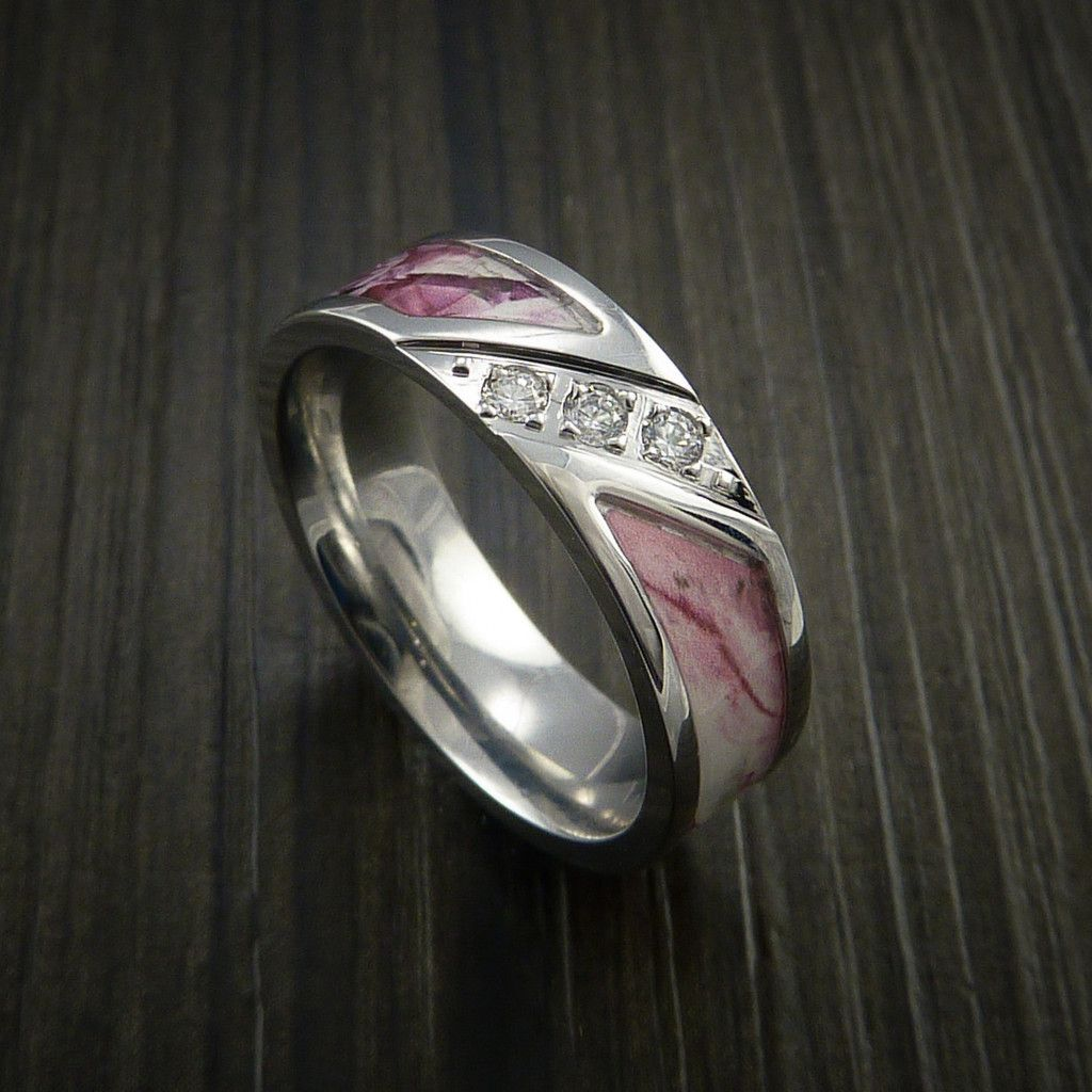 Kings Camo PINK SHADOW Ring with Diamond setting in Cobalt Chrome