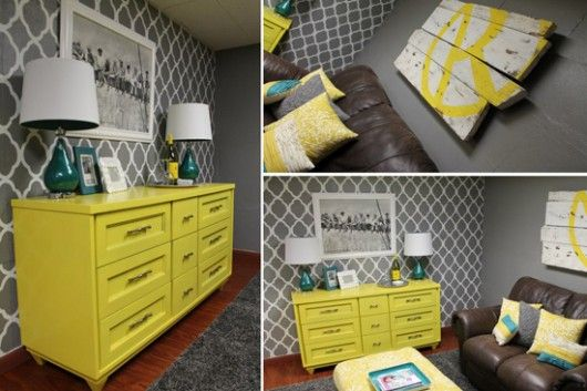 A DIY stenciled accent wall using the Rabat Allover Stencil pattern ...