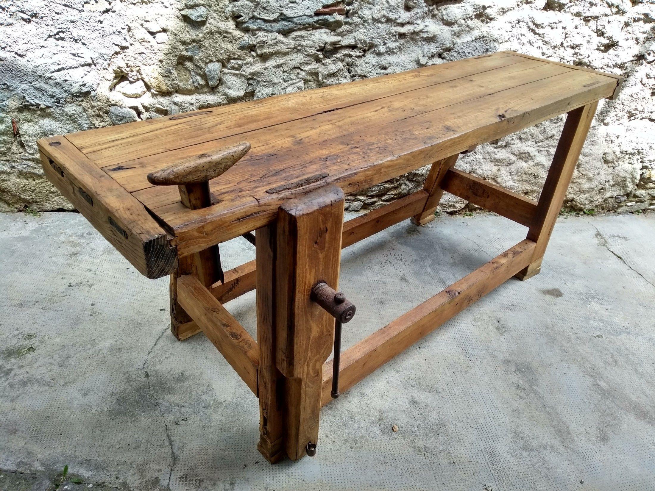 Banco Da Falegname Antico antico tavolo da falegname, banco da lavoro in rovere